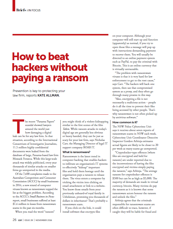 Law Society Journal ransomware