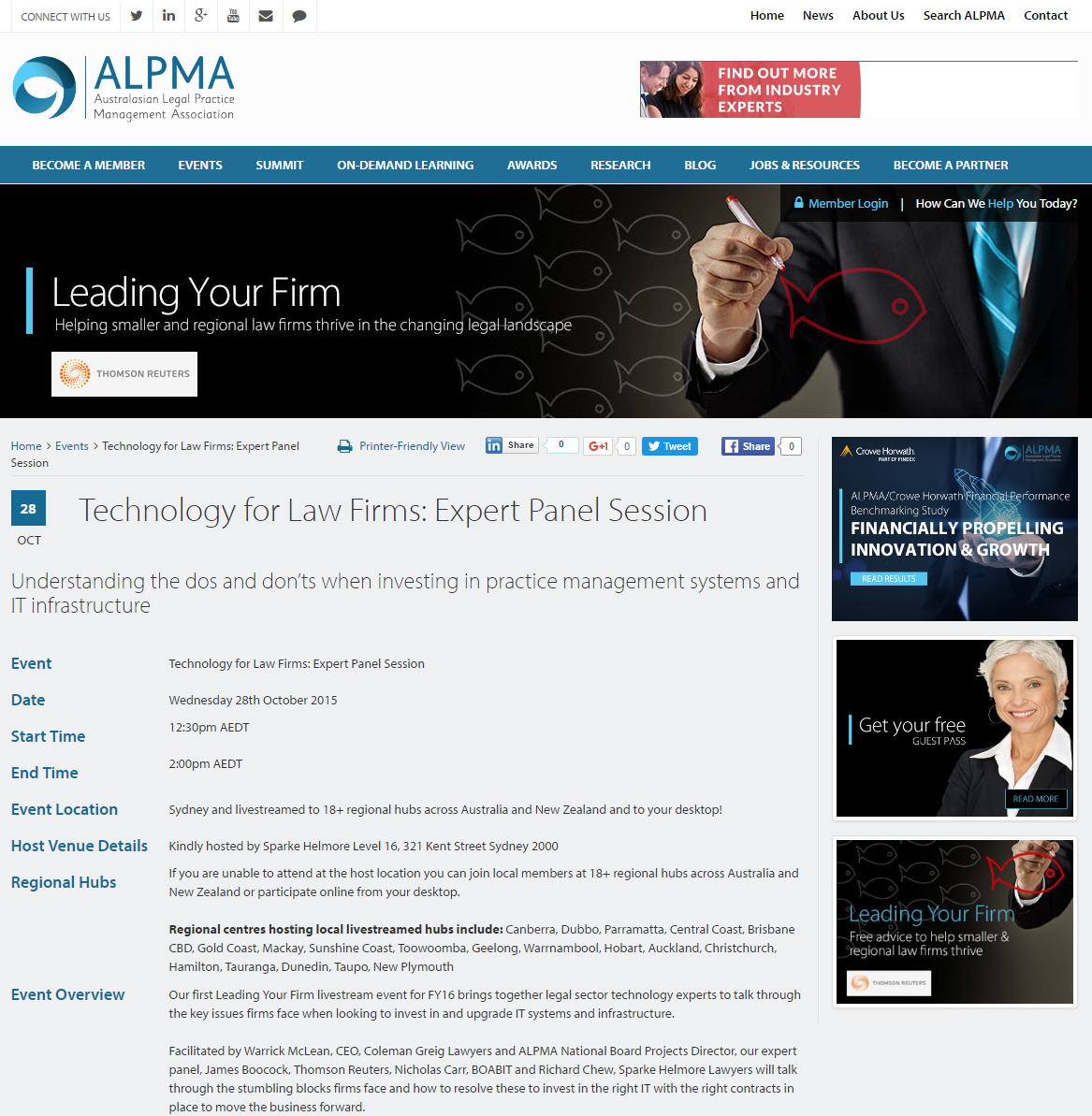 ALPMA - Technology for Law Firms: Expert Panel Session